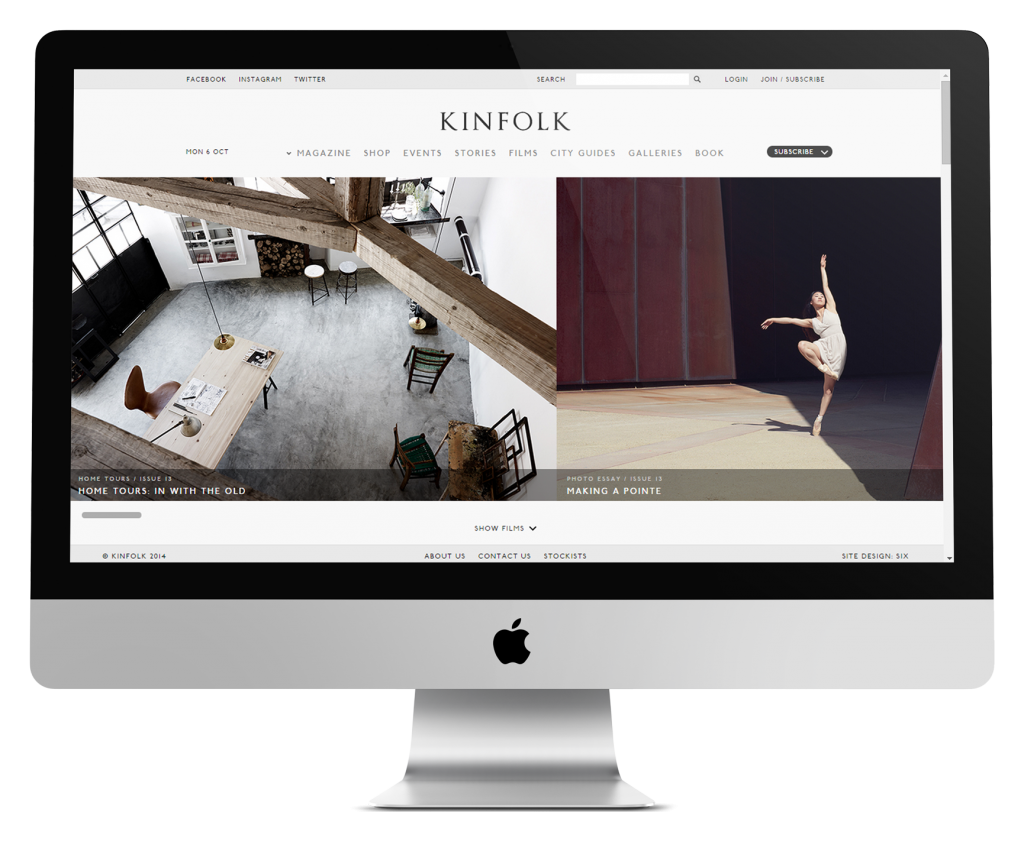 Kinfolk ecommerce website development