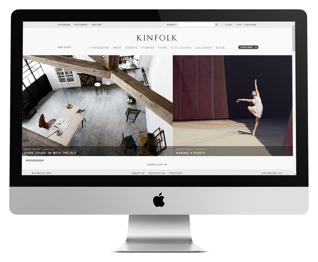 Kinfolk ecommerce website development
